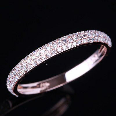 10K Rose Gold 0.32Ct Real Diamonds Wedding Half Eternity Band Engagement Ring