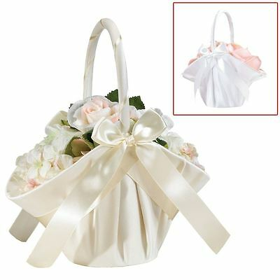 Large Satin Bride Bridesmaid Wedding Bouquet Flower Girl Baskets
