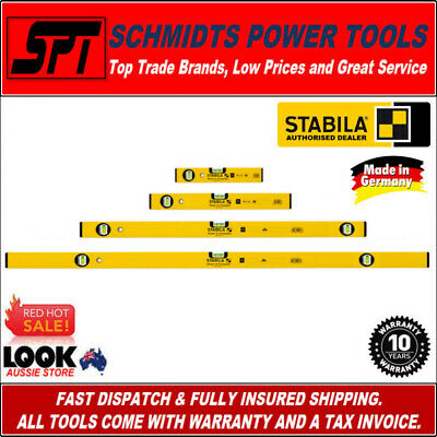 STABILA SPIRIT LEVEL SET 4 PIECE ALUMINIUM 300 600 1200mm & 2.0m TYPE 70 & 70-2