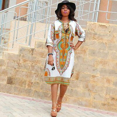 NEW Women Long Sleeve Casual Traditional African Print Dashiki Dress Party Dress