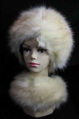 Stunning White Matching Faux Fur Hat And Scarf Russian Cossack Winter, Ski Hat