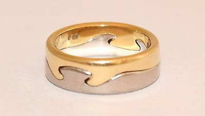 Georg Jensen Fusion 2 Piece Ring In 18ct White and Yellow Gold Size K 1/2