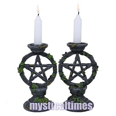 New * Pentagram Candlesticks * Wiccan Wicca Pentagram From Nemesis Now