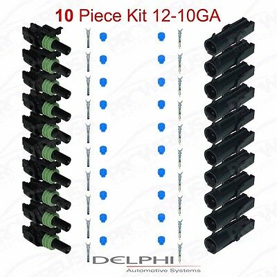 Delphi Weather Pack 1 Pin Sealed Connector Kit 12-10 GA !!!10 COMPLETE KITS!!