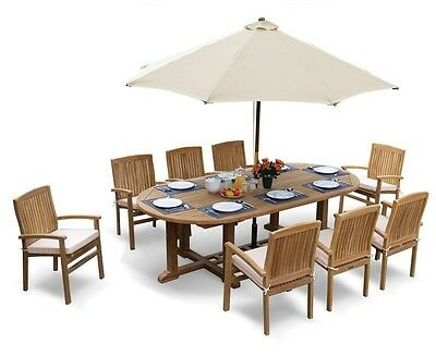 Winchester Teak Dining Set - Oval Garden Table and 8 Stacking Chairs Outdoor Set