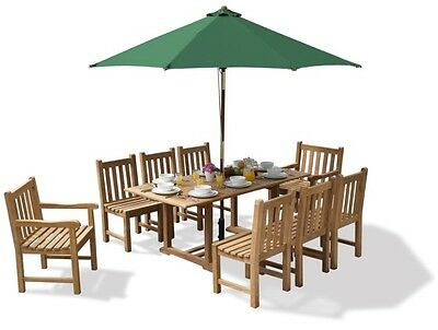 Deluxe Winchester Teak Garden Table and 8 Chairs Set - 8 seat Outdoor Dining Set