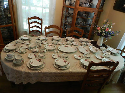 "Sango China ""Moss Rose"" Dinnerware set for 11 w/10 Serving Pieces 10-4"