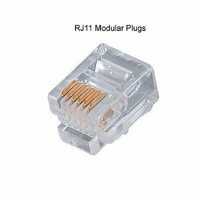 10 x Gold-plated 6P4C RJ11 Modular Plug Telephone & ADSL & Network Connector
