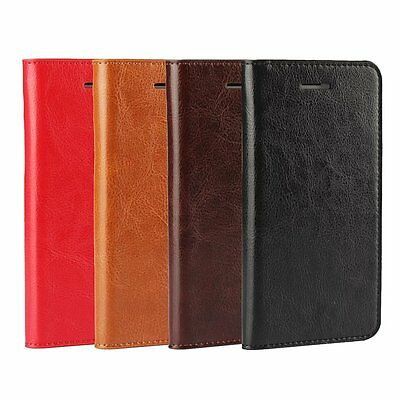 Genuine Real Cowhide Cow Leather ID Card Flip Stand Cover Case For Apple iPhone