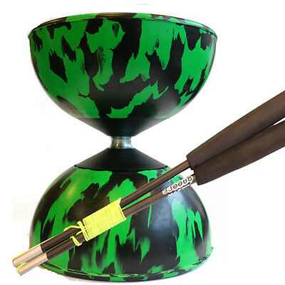 Green/ Black Mr B Harlequin Diabolo & Black JD Sticks - Pro Rubber Diablo Set