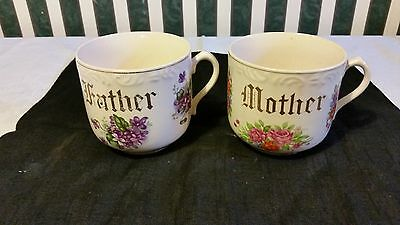 Lefton China Mother Father Coffee Cups Mugs Pair