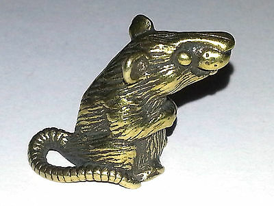 Small Brass RAT/ Mouse Figurine / Figure Tiny for collection  2cm  (4/5 in)