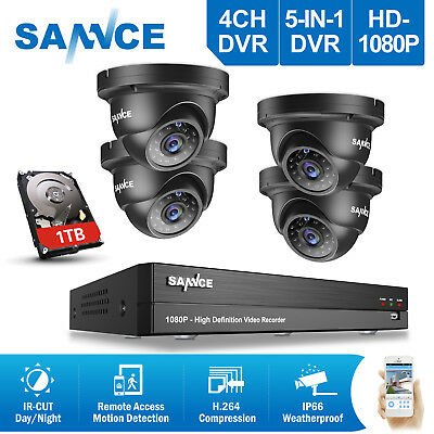 SANNCE 4CH 1080P AHD DVR Email Alert  IR Outdoor Home Security Camera System 1TB
