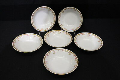 Set of 6 Vintage Epiag Royal PINK ROSES Coupe Soup Cereal Bowls, Czechoslovakia