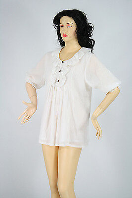 Traditional Blouse Chemise Handmade from Cotton in Maiden or Peasant Style