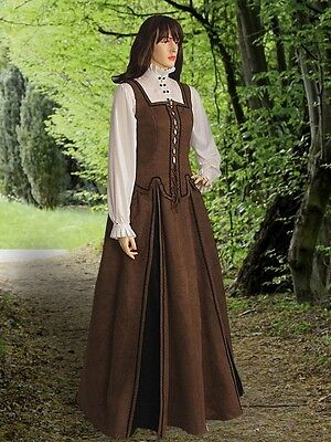 Renaissance Costume Medieval Dress in Faux Suede including Clothing