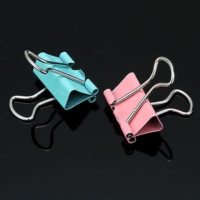 40Pcs Mix Color Durable Metal Office Supplies Binder Clip Paper File Ticket 19mm
