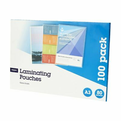 J.Burrows A3 Laminating Pouches 80 Micron 100 Pack Gloss
