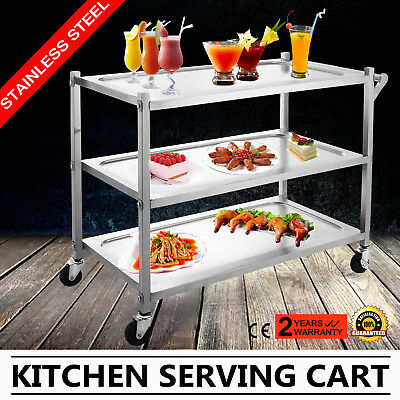 Stainless Steel Kitchen Dining Service Food Utility Trolley Cart 3 Tier W/Handle