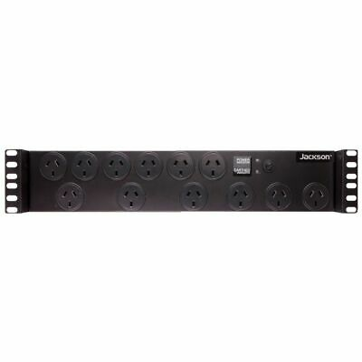 NEW Jackson Powerboard Rack-Mountable 12 Outlet Removable 1.8m Lead Powerboard