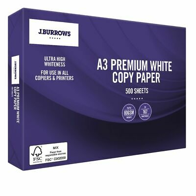 J.Burrows 80gsm A3 Premium Copy Paper 500 Sheet Ream