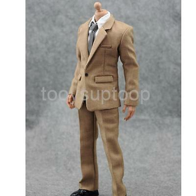 """1/6 Scale Mens Khaki Suit Full Set For 12"""" Male Hot Toys DID Action Figures"""