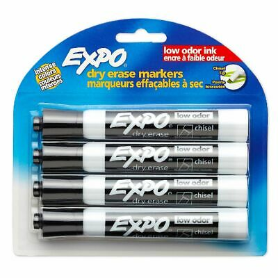 Expo Whiteboard Markers Chisel Tip Black 4 Pack