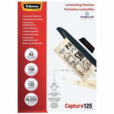 NEW Fellowes Laminating Pouches 125 Micron A3 X 100 Laminating Machine Laminator