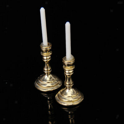 dolls house pair CANDLE STICKS candles  medieval Victorian vintage 2pc