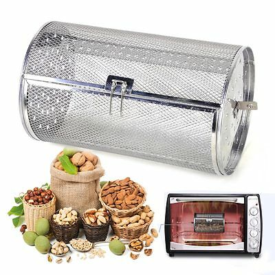 Silver Drum Oven Roaster Coffee Beans Peanut Basket BBQ Grill Rotisserie Grill