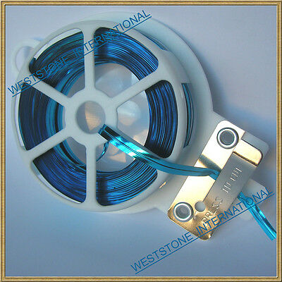 65ft (20m) Light Blue Metallic Twist Tie roll with cutter for Candy Cello Bag