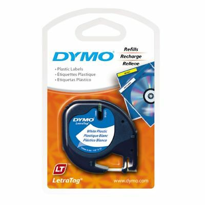 DYMO LetraTag Plastic Label Tape 12mm Black on White