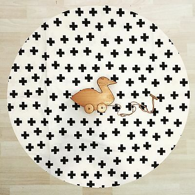 Lightly Quilted Baby Round Tummy Time Play Mat Roundies Nursery Rug Toy Blanket