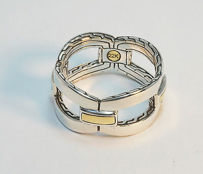 John Hardy NEW Classic Chain 22K Gold & Silver Interlinking Band Ring $395 Tag