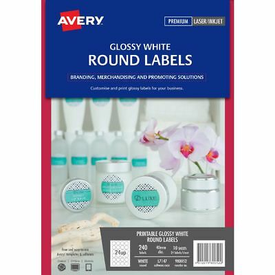 Avery Round Gloss Label 40mm White 240 Pack