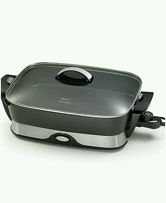 Skillet Electric Frying Pan 16 Inch Home Kitchen Pour Spout Black Meals New