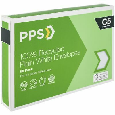 PPS C5 Plain Faced 100% Recycled Envelopes 50 Pack