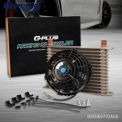 "UK Universal 15 Row 10AN Engine Transmission Oil Cooler + 7"" Electric Fan Kit"