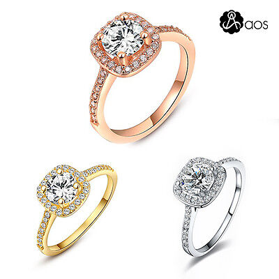 Aos Hot Women 925 Silver Plated Engagement Wedding Band Zircon Ring Jewelry Gift