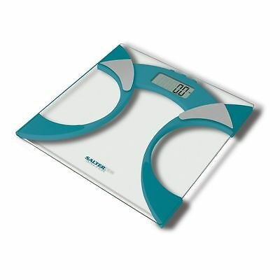 Salter Bathroom Ultra Slim Glass Electronic Digital Analyser Weight Scale Teal