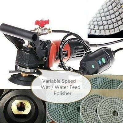 Variable Speed Concrete Cement Wet Polisher Grinder Sander Diamond 18+1 Pad