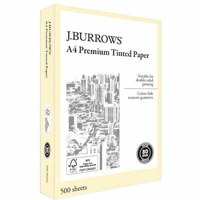J.Burrows Premium A4 Tinted Paper Ream Yellow