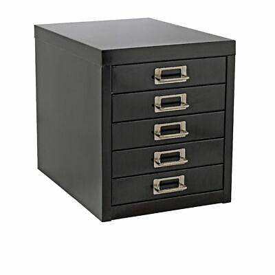 NEW A4 Drawer Mini Filing Unit Black 5 Storage Cabinet Office Furniture