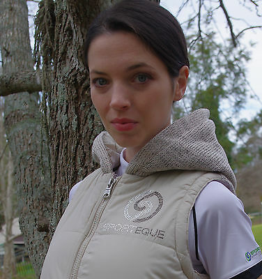 SPORTEQUE Ladies Quilted Puffer Vest with Hood Black RRP$99.95