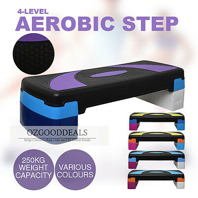 New 4 Level Aerobic Step Gym Fitness Workout Exercise Bench Home 80cm 250kg L