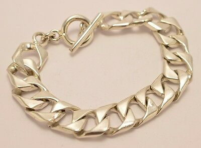 """Taxco Mexico 925 Sterling Silver Curb Chain Bracelet. 55g, 20cm, 7.9"""""""