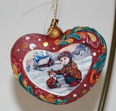 "G DeBrekht Hand Painted ""HEARTFUL"" Heart Christmas Ornament Boy w/ Cat NWOT"