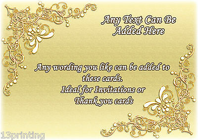 CREAM GOLD BEADS CLASSY Personalised Birthday Party Invitations A6 + envelope