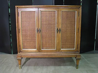 Striking Vintage 1960's Mastercraft Walnut & Rattan Cabinet With Interior Drawer