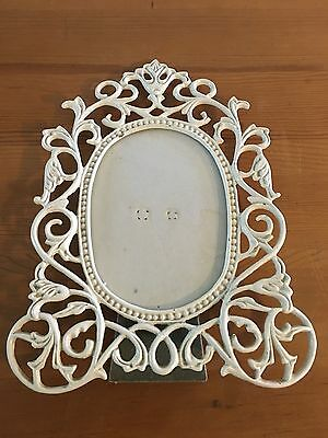 Vintage Chic Cast Iron White Victorian Style Ornate Photo/Picture Frame Shabby